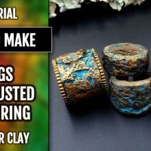 How to make Stone/Rock simple rings – Polymer clay Tutorial – Wearable Art!