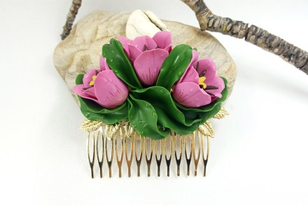 Hair Comb With Realistic Tulips Flowers from Polymer Clay