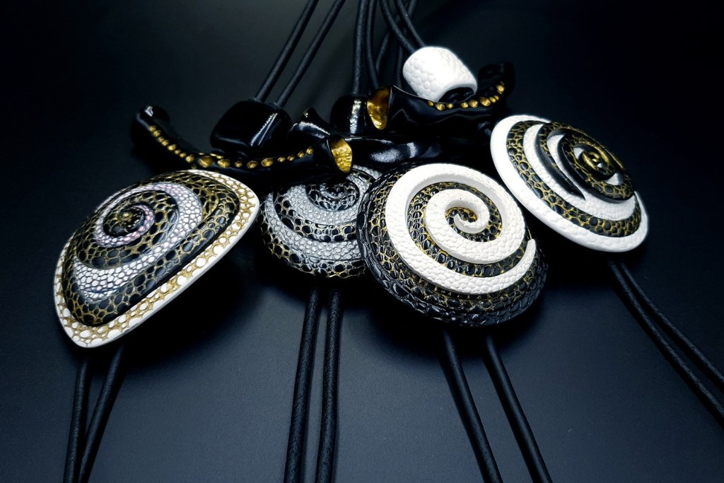 4 Amazing Yin-Yang Swirl Long Pendants made completely from polymer clay! 2