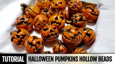 How to make Polymer clay Hollow Pumpkins beads for Halloween!