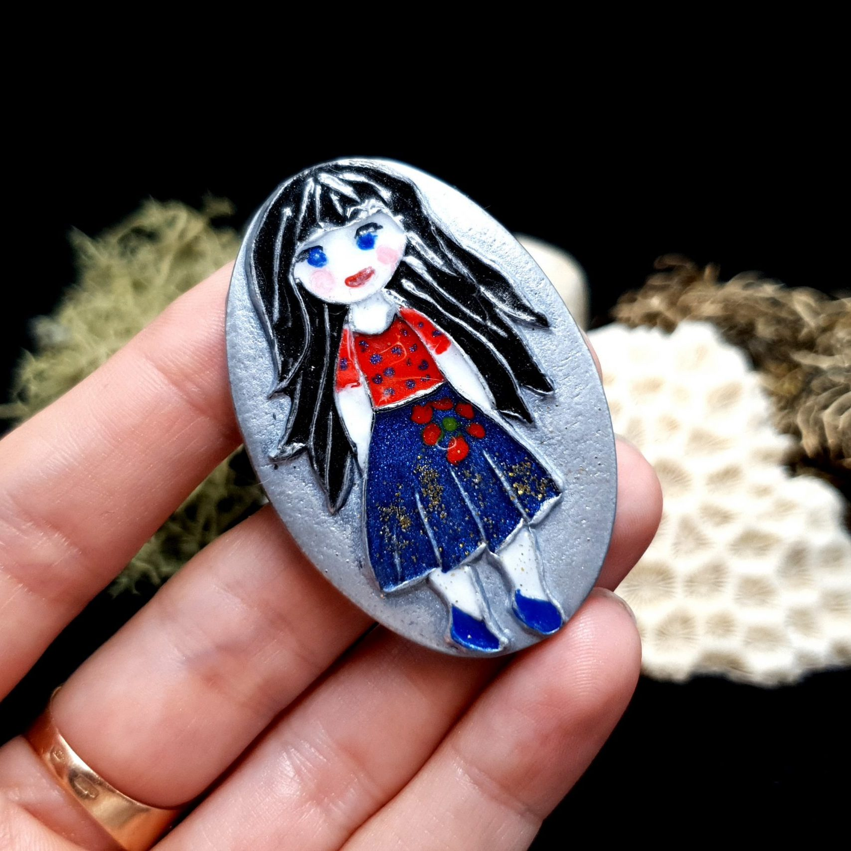 "Free video tutorial: How to make unique polymer clay Brooch ""Snow White"". 6"