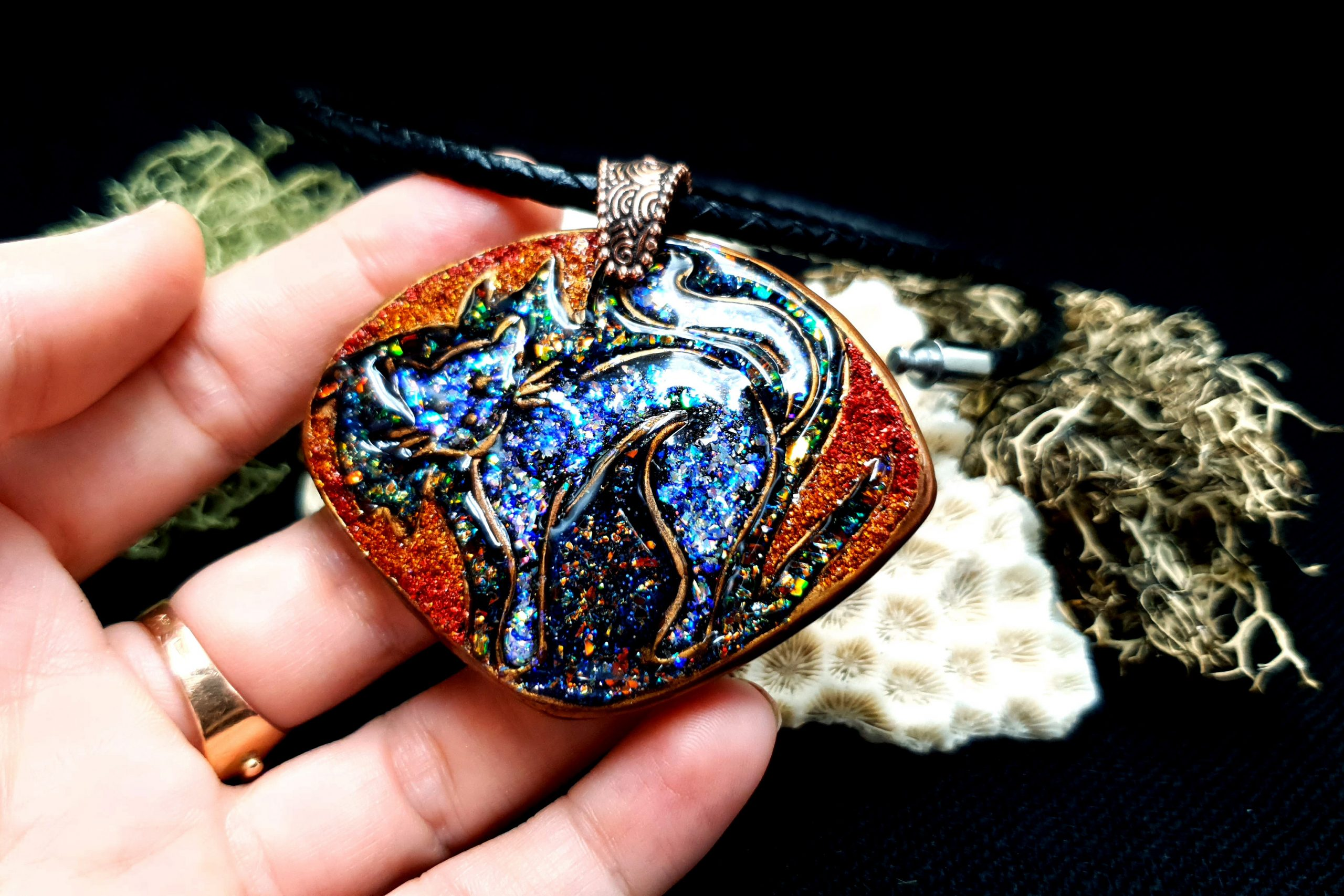 """Free video tutorial: How to make unique polymer clay Pendant """"Starry Night Cat"""" 4"""