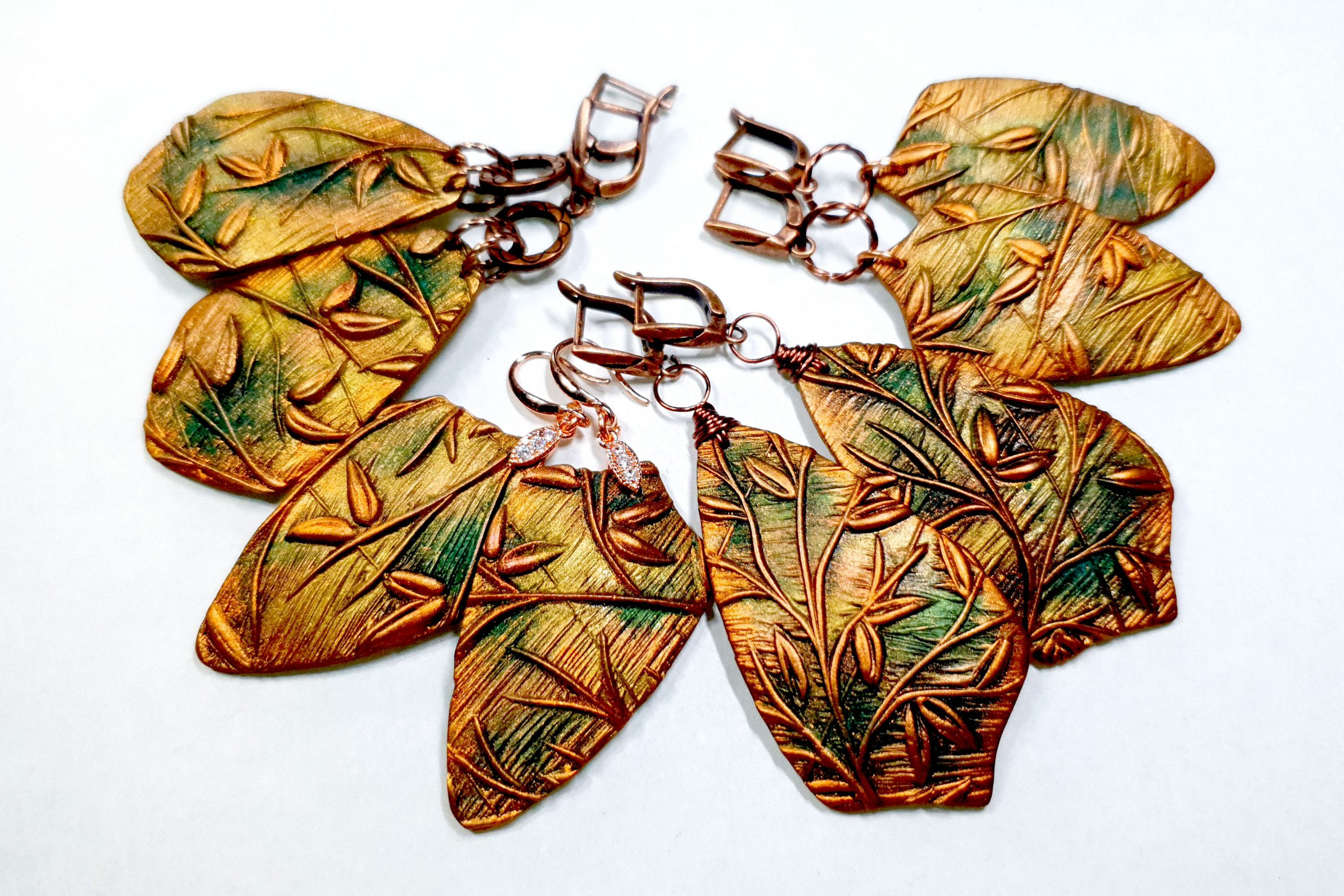 "Free video tutorial: How to make beautiful copper polymer clay earrings ""Spring Leafs"" 2"