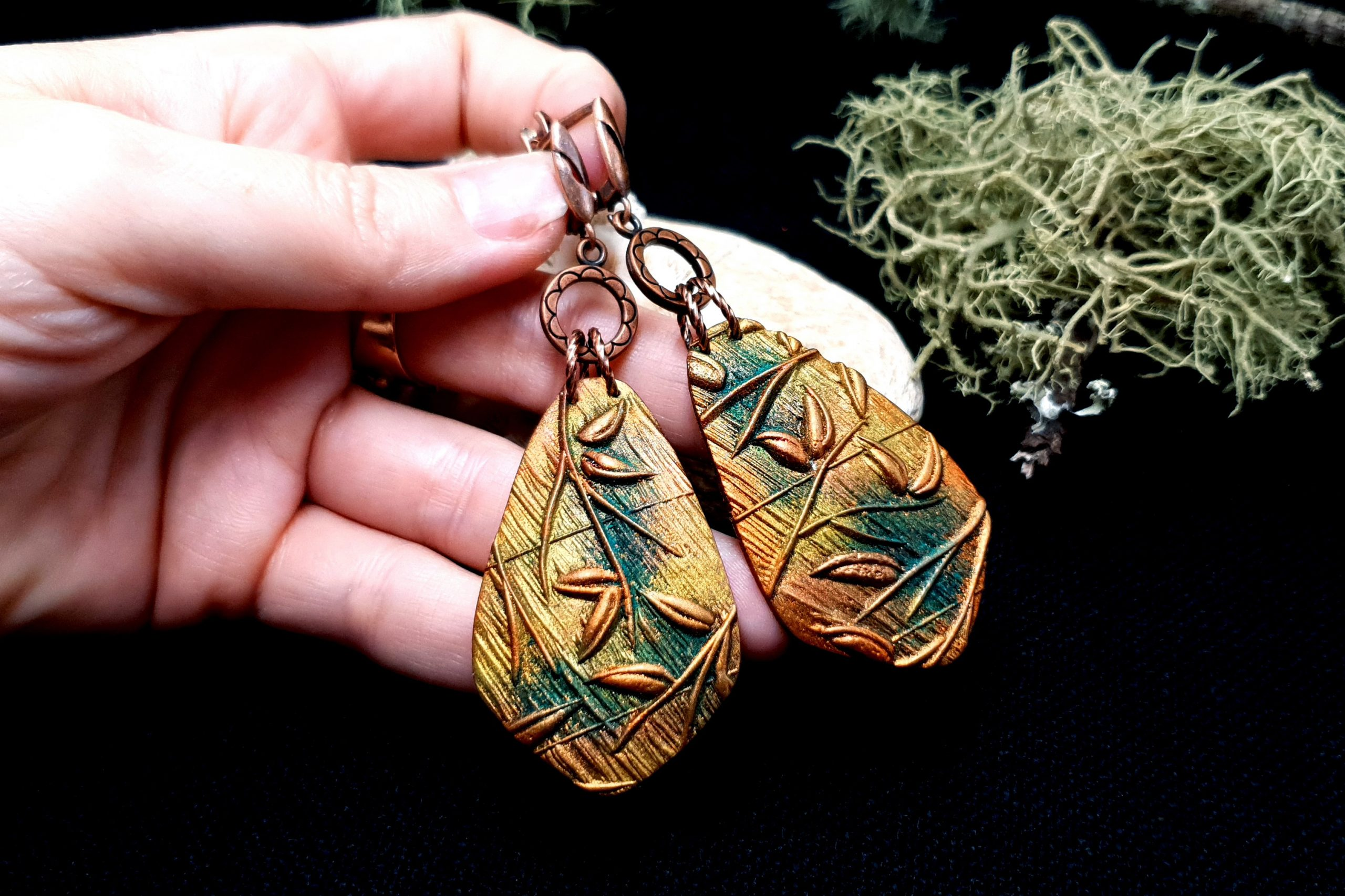 "Free video tutorial: How to make beautiful copper polymer clay earrings ""Spring Leafs"" 9"