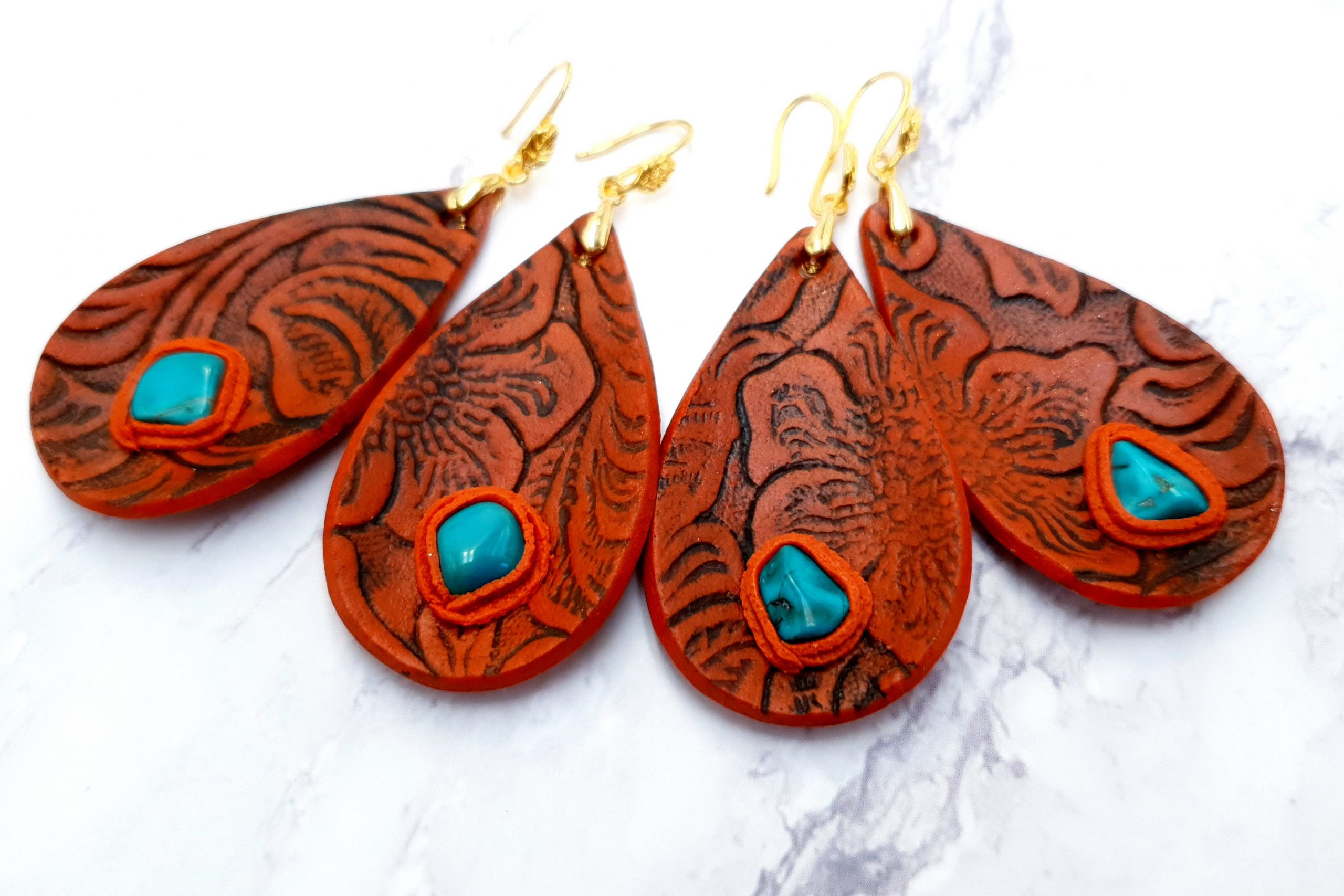Free Video Tutorial: Faux Leather Earrings. Fimo Leather Effect. 5