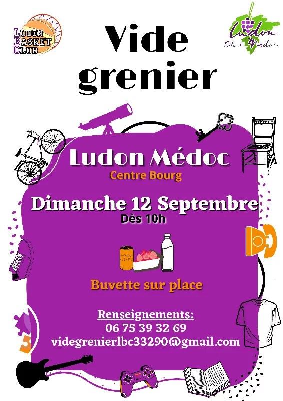 affiche vide grenier LBC 2021 - Vide grenier organisé par Ludon Basket Club