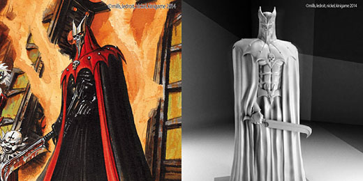 Concept art y render 3D de Requiem Vampire Knight