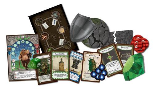 Componentes de la expansión de Dungeon Fighter Rock&Roll