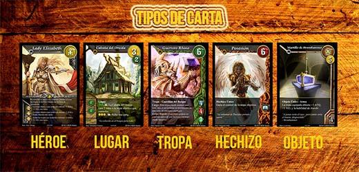 Tipos de cartas de warlords of terra
