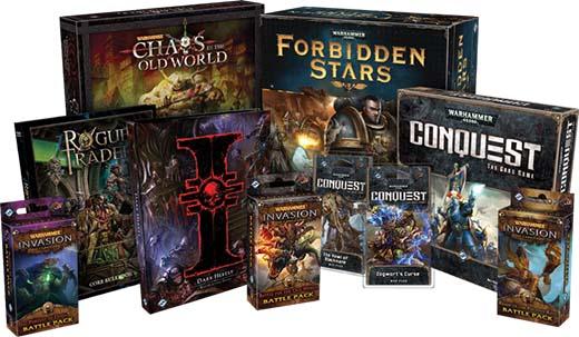 Algunos de los juegos de Games Workshop que publica FFG