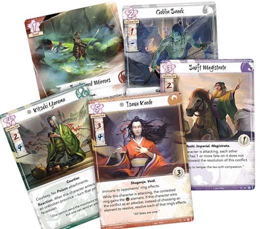 Cartas del primer destiny pack para la leyenda de los cinco anillos Las lagrimas de amaterasu