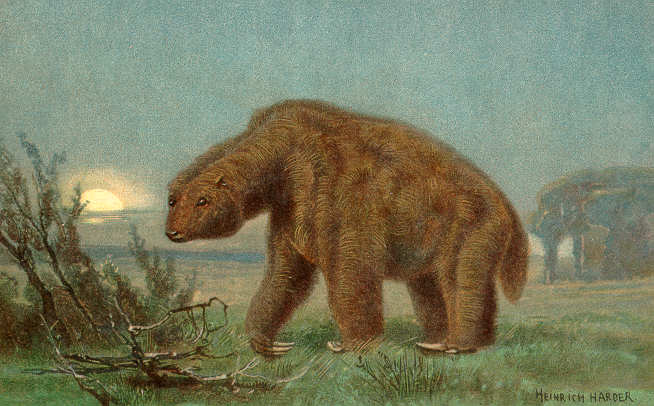 Megatherium (Giant Sloth) from The Wonderful Paleo Art of Heinrich Harder This image (or other media file) is in the public domain because its copyright has expired.