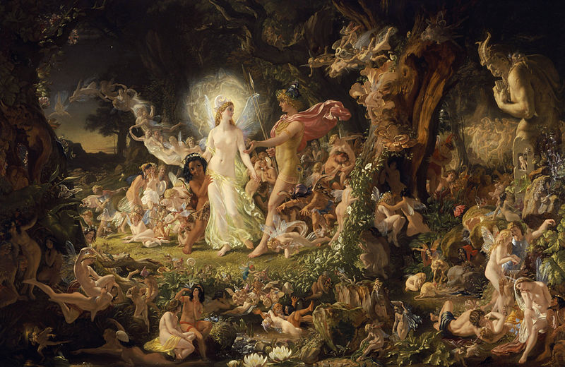 """The Quarrel of Oberon and Titania"" by Sir Joseph Noel Paton. This is a faithful photographic reproduction of a two-dimensional, public domain work of art. The work of art itself is in the public domain for the following reason: This work is in the public domain in the United States, and those countries with a copyright term of life of the author plus 100 years or less."