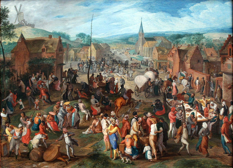 """Village Fair"" by Gillis Mosteart (1590). Held by Gemäldegalerie in Berlin. Art is in the Public Domain."