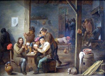 """Tavern Scene"" by David Teniers the Younger, 1658. Held by the National Gallery of Art. Art is in the public domain."