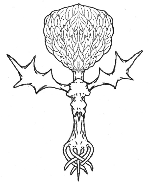 Einolar Pillar Tree and Forest Elk Skull Symbol - The Tribal Crest of the Deepwoods Einolar Now the Heraldic Crest of Her Ladyship Althea, 4th Baroness Cupric by Wallace Cleaves, 2015