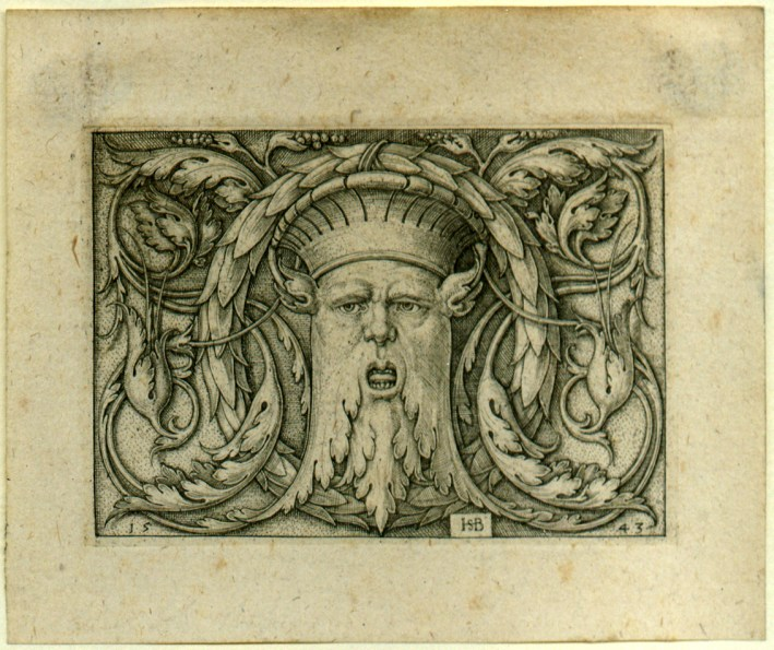 Beham, (Hans) Sebald (1500-1550): Querfüllung mit der Maske. Panel with Amascaron. Kupferstich/engraving. Source: Wikimedia Commons http://commons.wikimedia.org/wiki/File:Panel_with_Amascaron.jpg