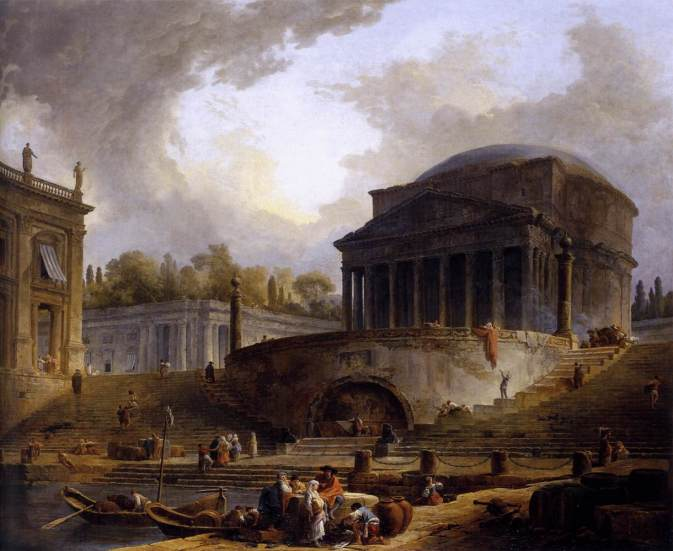 """Hubert Robert - View of Ripetta - WGA19603"" by Hubert Robert - Web Gallery of Art:   Image  Info about artwork. Licensed under Public Domain via Wikimedia Commons - http://commons.wikimedia.org/wiki/File:Hubert_Robert_-_View_of_Ripetta_-_WGA19603.jpg#/media/File:Hubert_Robert_-_View_of_Ripetta_-_WGA19603.jpg"
