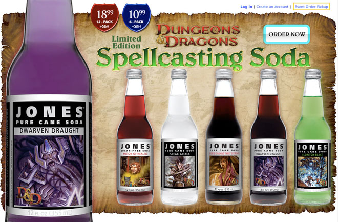 This actually was a thing back in 2010. Jones Soda made a variety of Dungeons & Dragon's themed drinks. Source: http://www.wired.com/2010/05/dd-spellcasting-soda/
