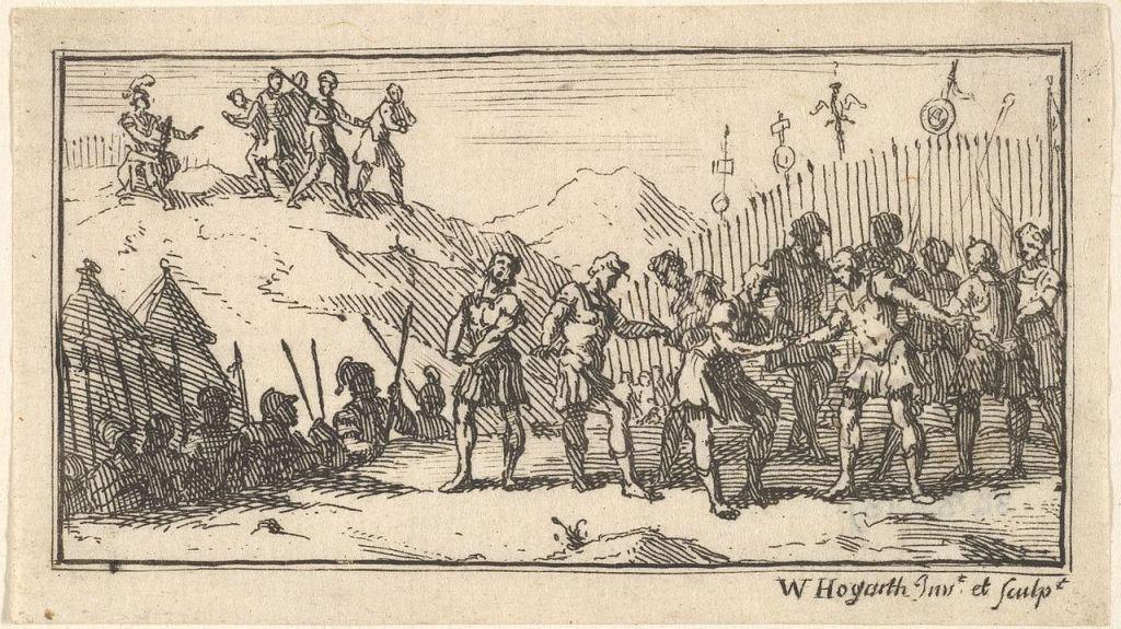 Decimation. Etching by William Hogarth in Beaver's Roman Military Punishments (1725) The author died in 1764, so this work is in the public domain in its country of origin and other countries and areas where the copyright term is the author's life plus 100 years or less.