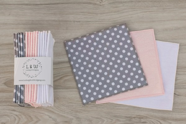 Basket of Wipes (5 ea. 2-Ply, Gray Polka Dot, Pink & White Flannel) 2