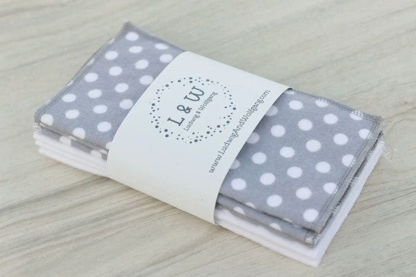 Bundle of Wipes (3 ea. White, Gray Polka Dot, 2-Ply Flannel) 1