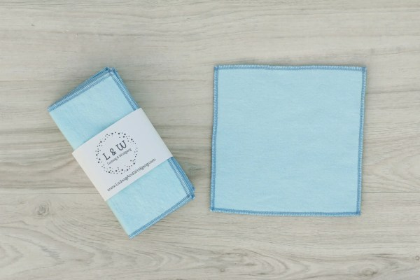 Bundle of Wipes (6 Light Blue, 2-Ply Flannel) 2