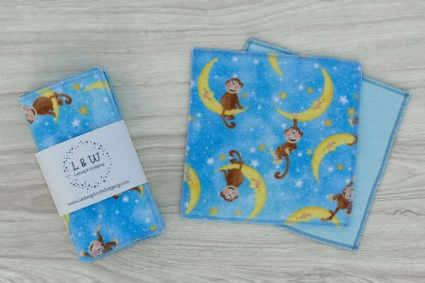 Limited Edition Cute Monkeys Blue Bundle of Wipes (3 ea. 2-Ply, Monkeys,Light Blue) 2