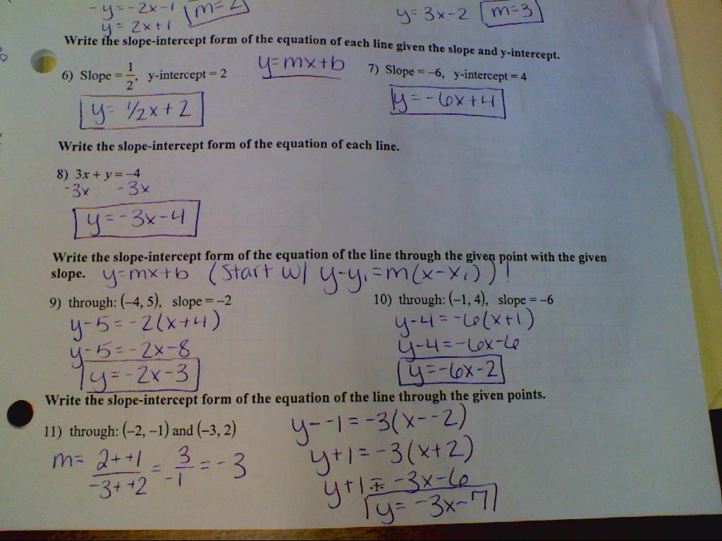 Alg 1 Answer Keys