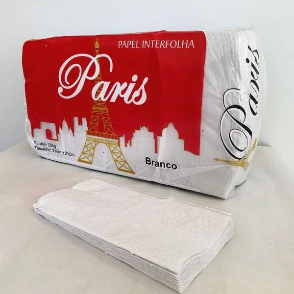 Papel Toalha Interfolha 2 Dobras Intercaladas 21x21cm Branco - Paris - Pacote 1000 FL