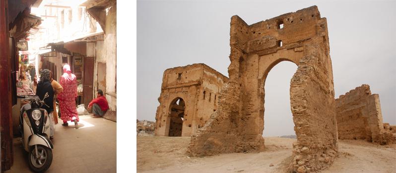 À esquerda: Medina em Fez. À direita: Ruínas em Fez. Foto por Karina Cordeiro.