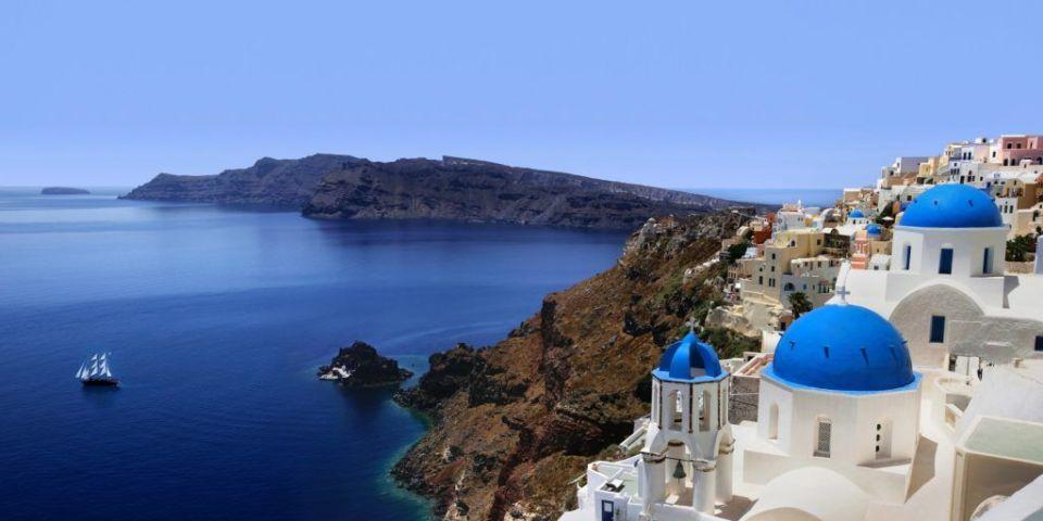 Caldera de Santorini, acantilados costeros de Europa (Grecia)