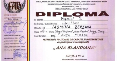 "Lugoj Expres O elevă de la Colegiul ""I. Hasdeu"" - Premiul I la Festivalul național ""Ana Blandiana"" premiu Iasmina Berzava Festivalul național Ana Blandiana festival eseu Colegiul Național ""Iulia Hasdeu"" Lugoj"