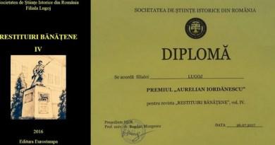 """Lugoj Expres Premiu pentru revista """"Restituiri bănățene"""" Societatea de Științe Istorice revistă restituiri bănățene premiu anuar"""