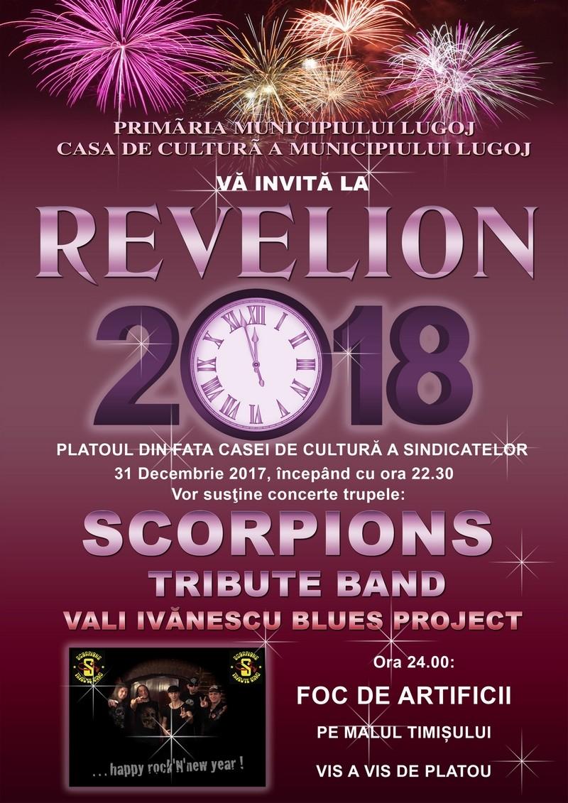 Lugoj Expres Concert de Revelion în aer liber și foc de artificii, în centrul Lugojului Vali Ivănescu Blues Project spectacol Scorpions Tribute Band revelion în stradă petrecere foc concert în aer liber artificii