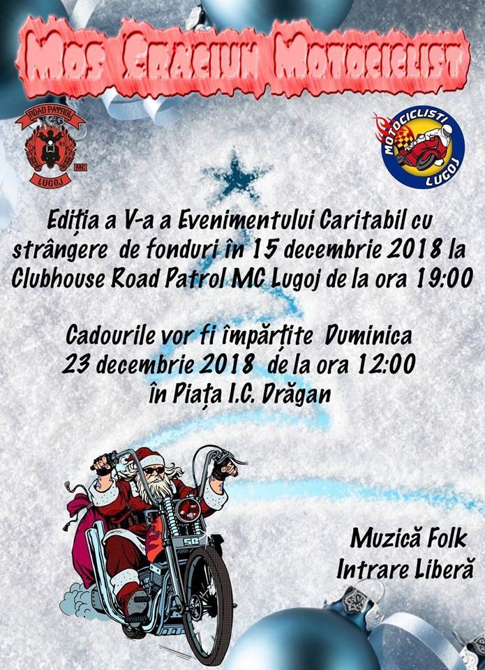 Lugoj Expres Moș Crăciun Motociclist – eveniment caritabil organizat de Road Patrol MC Lugoj strângere de fonduri Road Patrol MC Lugoj Motocicliștii Lugoj motocicliști Moș Crăciun Motociclist eveniment caritabil