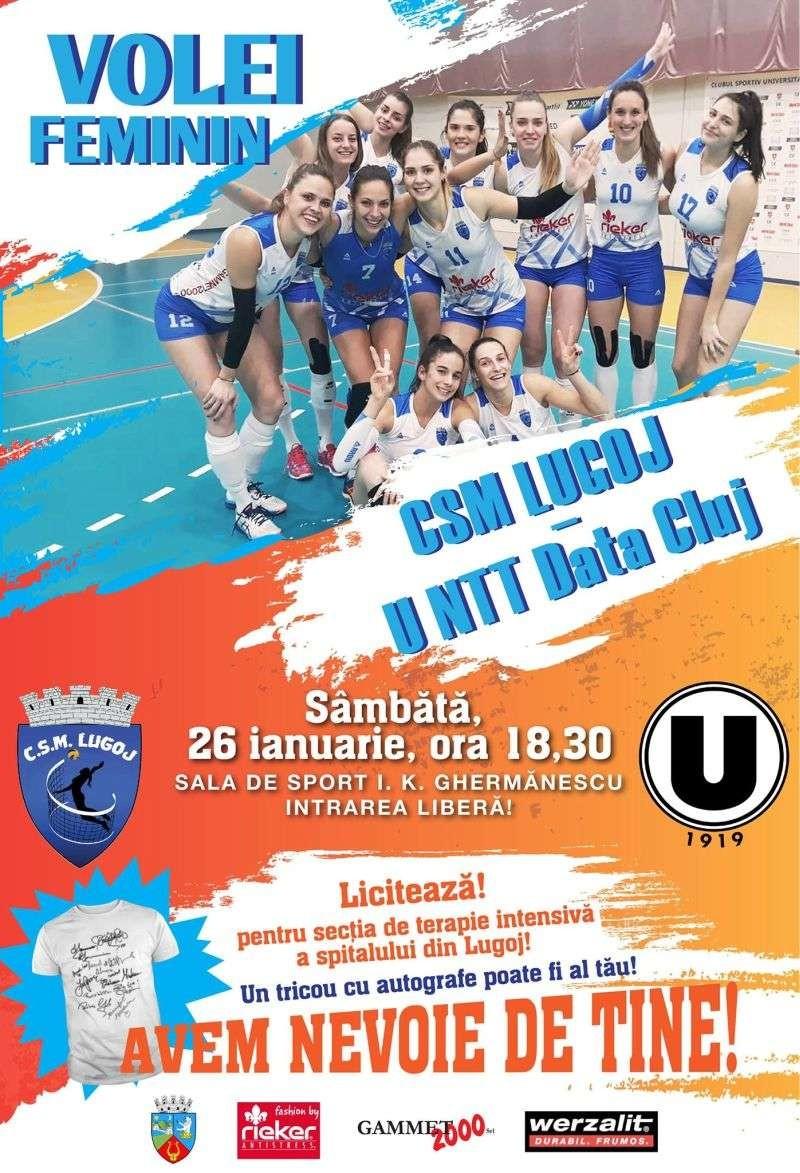 Lugoj Expres Lugojenii, invitați la volei și la... binefacere volei Untt Data Cluj Rotary Lugoj Rotary prima ligă meci licitație Divizia A1 CSM Lugoj binefacere aparatură