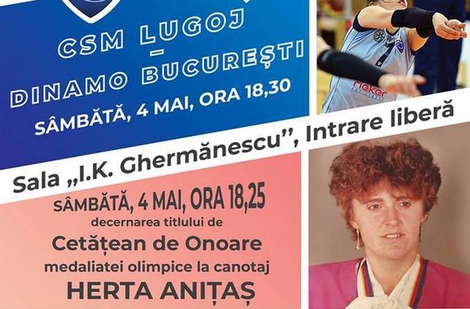 Lugoj Expres Voleiul lugojean, în fața unei premiere volei premiera medaliată olimpică Lugoj Hertha Anițaș Divizia A1 Dinamo București CSM Lugoj cetățean de onoare ceremonie canotoare