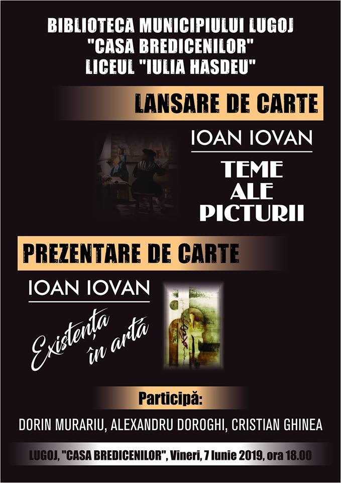 Lugoj Expres Eveniment editorial, la Casa Bredicenilor lansare de carte lansare Ioan Iovan eveniment editorial critic de artă Casa Bredicenilor carte