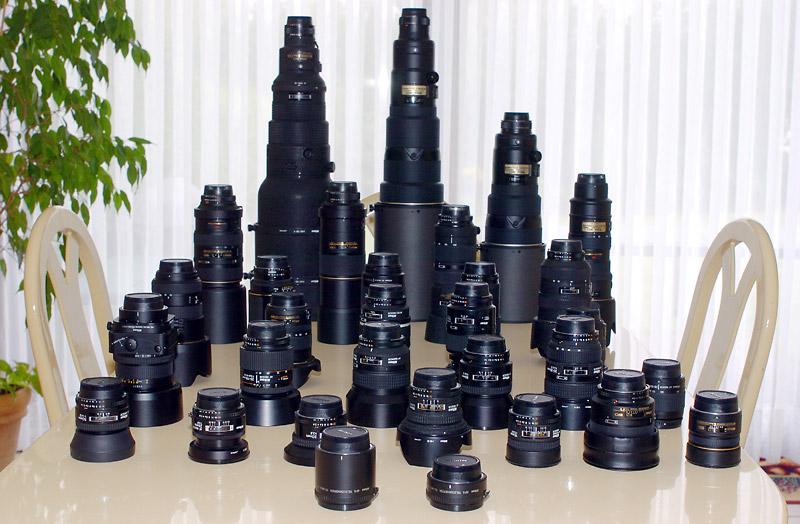 Una impresionante colección de objetivos Nikon