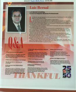 Bernal receives the 25 over 50 Award