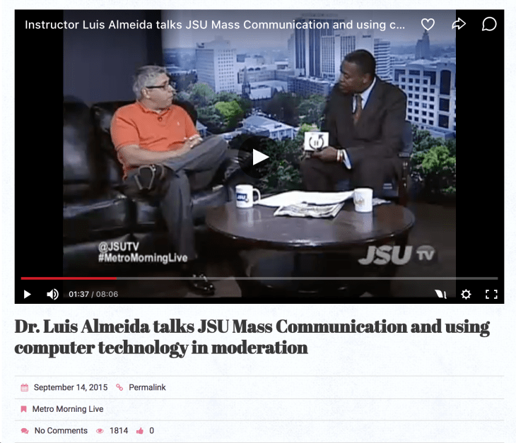 Photo of Dr. Almeida at JSU-TV On An Interview.