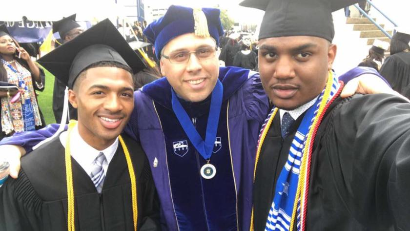 Photo Of Dr. A And Two Of His Students At Spring Graduation Ceremony, Jackson State University.