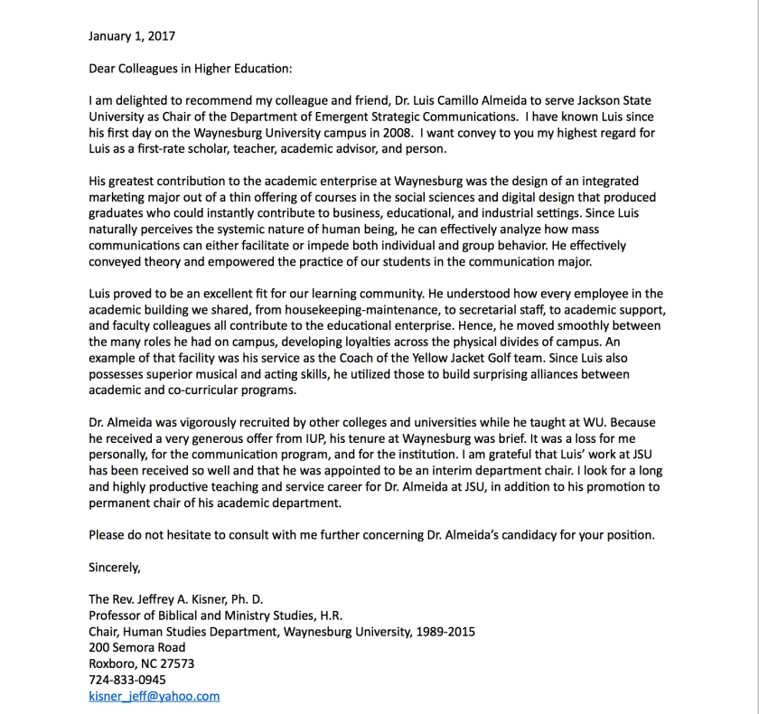 Photo of the Letter of Reference From Jeff Kisner, Retired Chair And Pastor