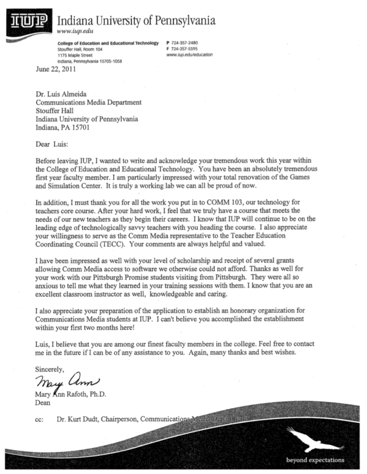 Photo of Letter of Appreciation From Provost Rafoth Now At Robert Morris University
