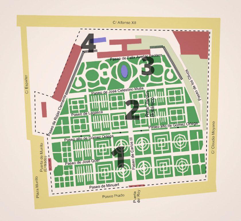Mapa del Real Jardín Botanico de Madrid en dominio público. Imagen modificada de Luis F. Roncero.