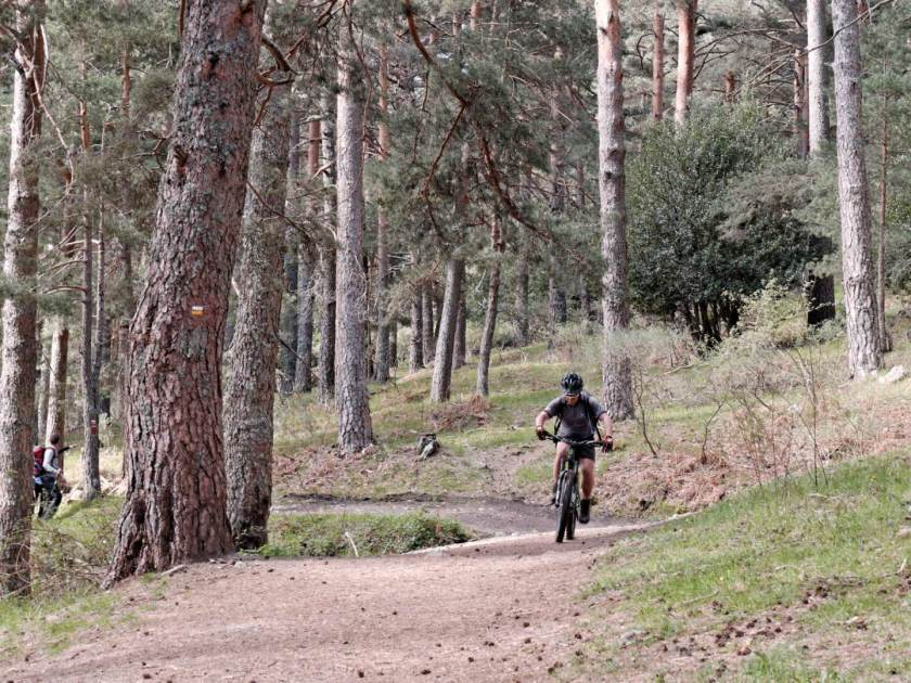 Ciclista subiendo por pista de tierra en la ruta de montaña de La Calle Alta del Valle de Fuenfria en Cercedilla, Madrid. Fotografía de Luis F. Roncero.