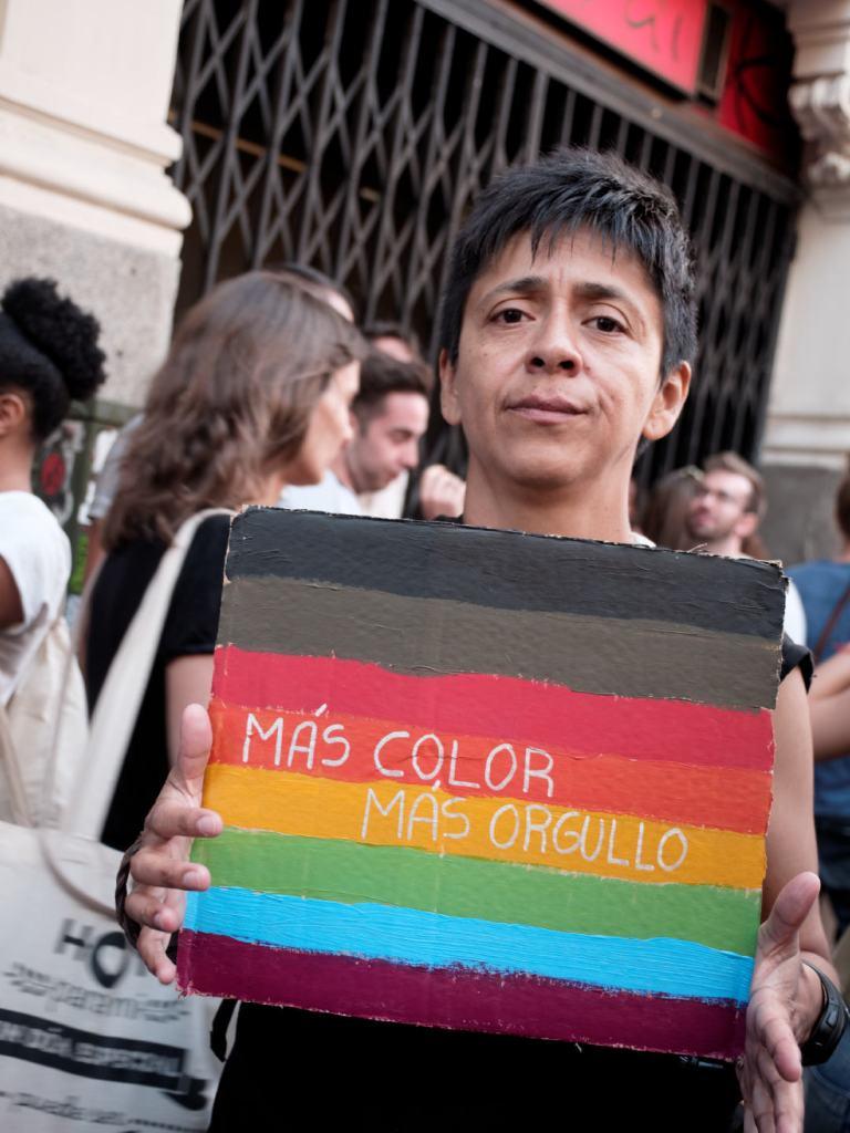 Pancarta: MÁS COLOR, MÁS ORGULLO. Manifestación del Orgullo Crítico en Madrid. Fotografía de Luis F. Roncero.