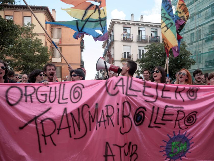 Pancarta: ORGULLO CALLEJERO TRANSMARICABOLLERO. Manifestación del Orgullo Crítico en Madrid. Fotografía de Luis F. Roncero.