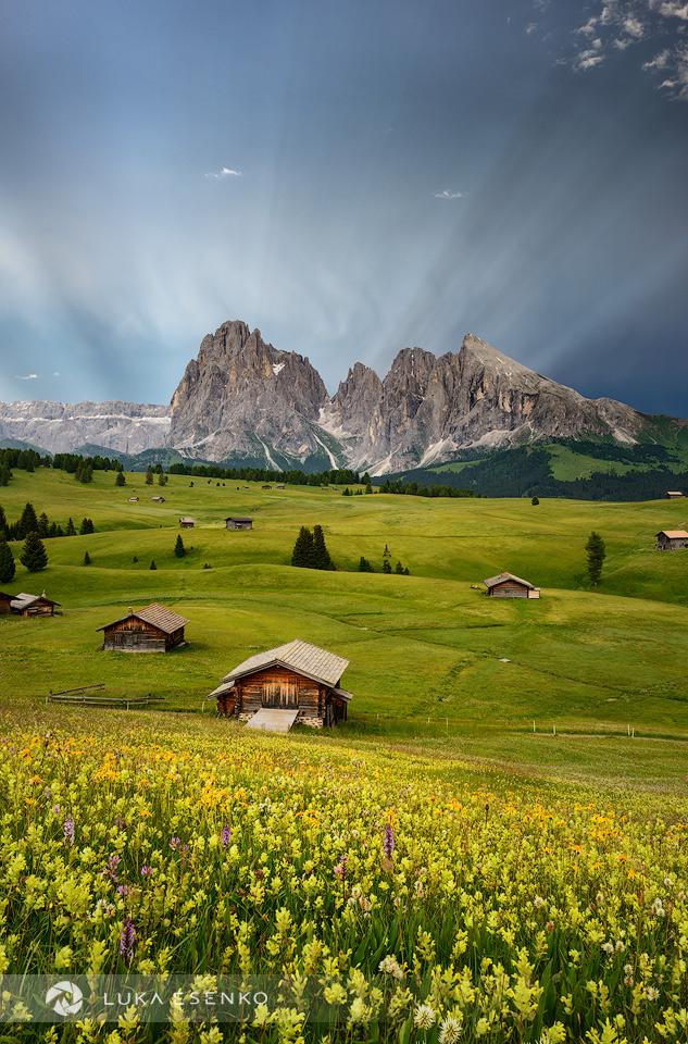 Anticrepuscular rays at Alpe di Siusi, Dolomites, Italy